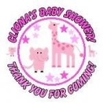 Personalised Pink Baby Animals Baby Shower Party Stickers